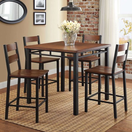 Better Homes & Gardens Mercer 5-Piece Counter Height Dining Set, Vintage Oak (high kitchen table set for 4)