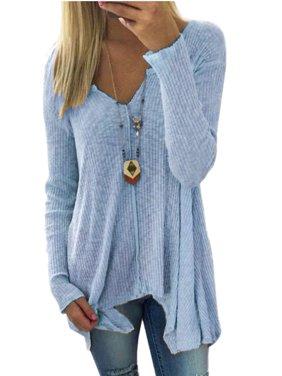 Fashion Women Plus size Casual Loose Long Hem Asymmertrical Irregular Basic T-shirt Pullover Tops Deep V-neck S-XXXXXL