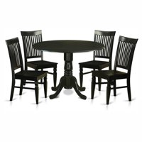 East West Furniture Dublin 5 Piece Drop Leaf Dining Table Set with Weston Wooden Seat Chairs
