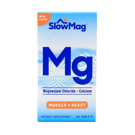 Magnesium Chloride Dietary Supplement - SlowMag Magnesium Chloride + Calcium Tablets, 60 Ct