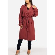 b88ba3de6 Fashion Casual Womens Juniors Solid Brick Belted Long Sleeve Trench Coat  Outwear Jacket 40258S