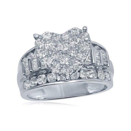 Diamond Ladies Heart Ring (10kt White Gold Womens Round Diamond Heart Cluster Bridal Wedding Engagement Ring 2.00 Cttw )