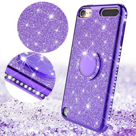 Apple iPod Touch 6 Case, iPod 6/5 Case [Tempered Glass Screen Protector],Glitter Ring Stand Bling Sparkle Diamond Case For Apple iPod Touch 5/6th Generation - Purple - image 4 of 5