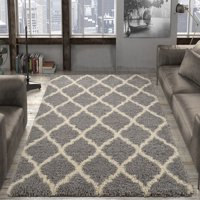 Ottomanson Ultimate Shaggy Contemporary Moroccan Trellis Design Area Rug