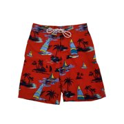 811ceabe48 Mens Red Tropical Paradise Sailboat Hawaiian Board Shorts Swim Trunks