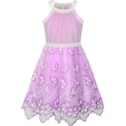 c3c5201c0 Girls Dress Turquoise Butterfly Embroidered Halter Dress Party 5