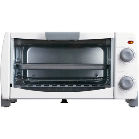 White Oven (Mainstays 4-Slice White Toaster Oven with Dishwasher-Safe Rack & Pan)
