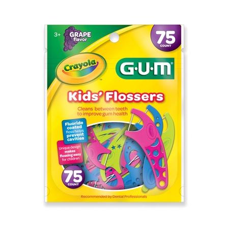 Gum Eez Thru Floss - GUM Crayola Kids' Flossers, 75 ct