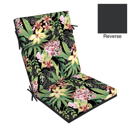 Better Homes & Gardens Black Tropical 44 x 21 in. Outdoor Dining Chair Cushion with (Replacement Patio Cushions)