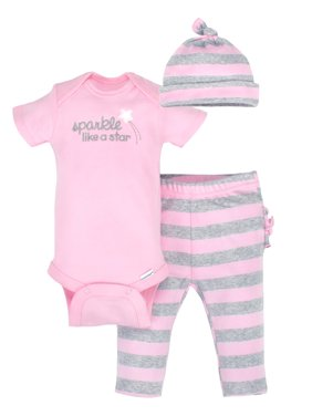 Newborn Baby Girl Organic Take-Me-Home Outfit Set, 3pc