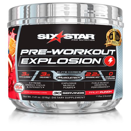 Six Star Pro Nutrition Pre Workout Explosion Powder, Fruit Punch, 30 (Six Star Pre Workout Explosion Vs C4)