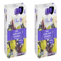 (2 Pack) Plum Organics Stage 2 Pear, Purple Carrot & Blueberry, 4oz, 4-pack