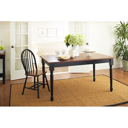 Better Homes and Gardens Autumn Lane Farmhouse Dining Table, Black and Oak