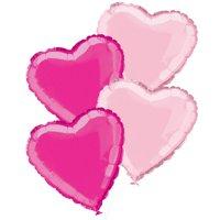 Foil Heart Balloon Bouquet, Light Pink & Hot Pink, 18in, 4ct