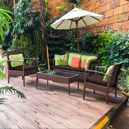Costway 4 PCS Patio Rattan Wicker Furniture Set Brown Loveseat Sofa Cushioned Garden Yard All Weather Wicker 4 Piece