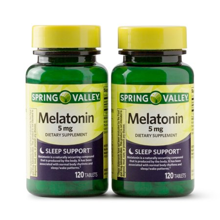 1 Mg 120 Pills (Spring Valley Melatonin Tablets, 5 mg, 120 Ct, 2)