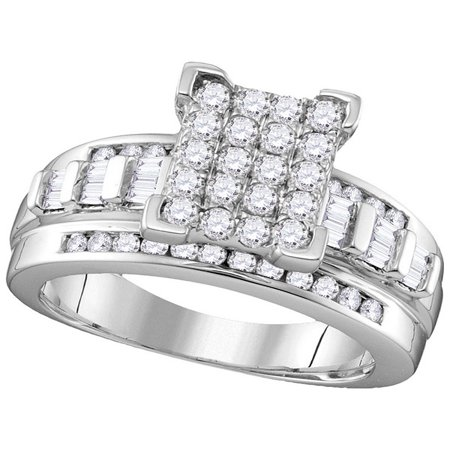 10kt White Gold Womens Round Diamond Cinderella Cluster Bridal Wedding Engagement Ring 1.00 Cttw - Cinderella Bridals