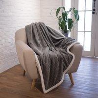 Premium Chevron Sherpa Throw Blanket by Pavilia | Super Soft, Cozy, Lightweight Microfiber, Elegant, Reversible (50 x 60 Inches, Gray)