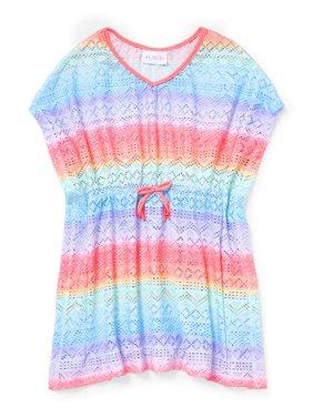 Rainbow Stripe Kaftan Swim Coverup (Little Girls & Big Girls)