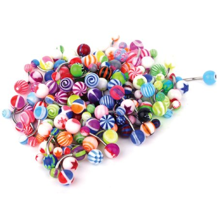 BodyJ4You 100PC Belly Button Rings Banana Barbells 14G Surgical Steel Bar Mix Color Body Jewelry