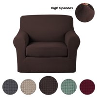 Anti-Slip Jacquard 2-Piece Spandex Stretch Elastic Pet Dog Sofa Couch Cover Slipcover Arm-chair Furniture Protector Shield (Chair-Chocolate)