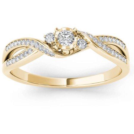 - 1/6 Carat T.W. Diamond Cross Over Split Shank 10kt Yellow Gold Engagement Ring