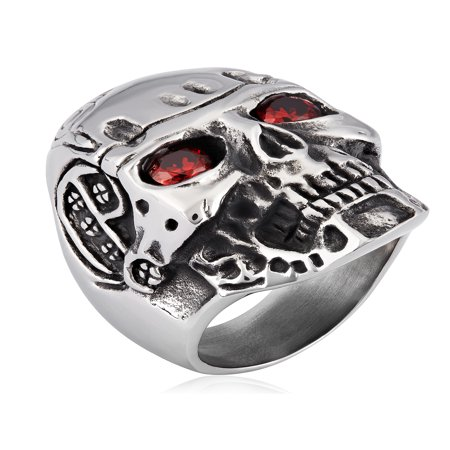 Stainless Steel Antiqued Cubic Zirconia Skull Ring - Mens Skull Rings