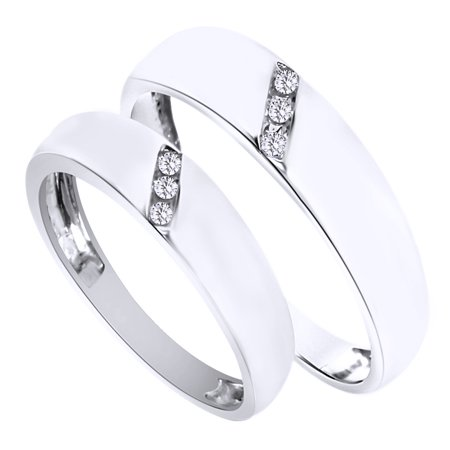 White Natural Diamond His And Hers Wedding Band Ring Set in 14K White Gold (0.1 Cttw)