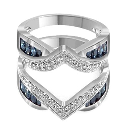 Blue & White Natural Diamond Wrap Guard Enhancer Engagement Ring in 14k White Gold (0.50 Cttw)