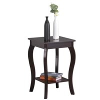 Yaheetech Wood Curved Legs Square Accent Side End Tables with Bottom Shelf Nightstands Bedroom Living Room Furniture, Espresso Finish