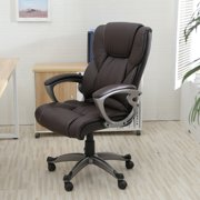 Belleze High Back Executive Faux Leather Office Chair Computer Adjule Height Tilt Brown
