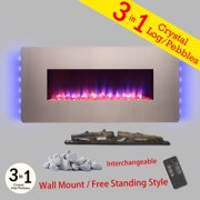 """AKDY FP0067 36"""" Freestanding & Wall Mount Convertible Push Control 3-in-1 Logs Pebble Crystal Bed Electric Fireplace Heater"""