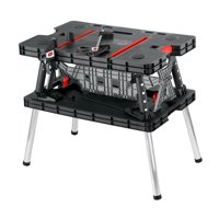Keter Folding Worktable, Adjustable Resin Work Bench with Clamps, Black