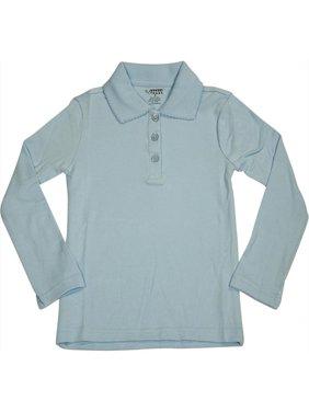 French Toast School Uniform Big Girls Plus Size Long Sleeve Interlock Polo Shirt, 33666 Black / 18.5Plus