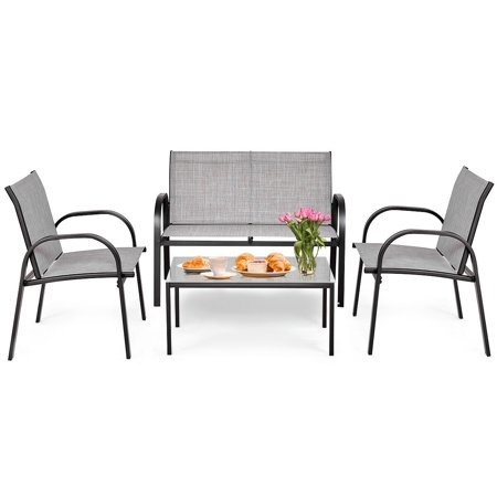Costway 4 PCS Patio Furniture Set Sofa Coffee Table Steel Frame Garden Deck Gray - image 8 of 8
