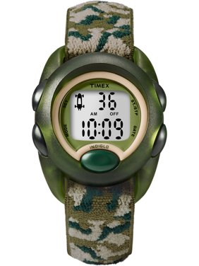 Boys Time Machines Digital Green Camouflage Watch, Elastic Fabric Strap