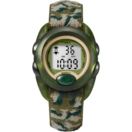 Boys Time Machines Digital Green Camouflage Watch, Elastic Fabric -