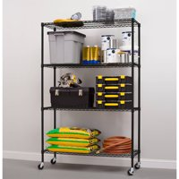 "Hyper Tough 18""Dx48""Wx75""H with casters 4-Shelf Commercial Grade Wire Shelving System with Bonus Shelf Liners and Casters, Black"