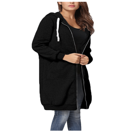 Women's Clothing Clearance! Long Sleeve Jacket for Women, Black / Green / Gray Casual Zip Up Hoodie Coat for Women, S-2XL ()