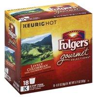 Folgers 100% Colombian Coffee, Medium-Dark Roast, K-Cup Pods for Keurig K-Cup Brewers, 18 Count