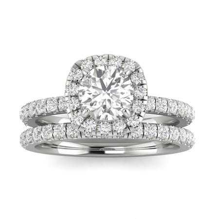 1.00ctw Diamond Halo Bridal Set Engagement Ring in 14k  White Gold (1.00ctw,I2-I3, G-H)