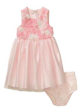 george infant girls pink rosette satin & tulle easter & holiday dress