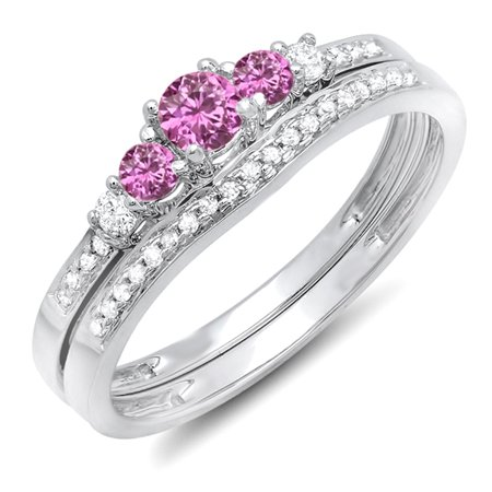 Dazzlingrock Collection 10K Round Pink Sapphire And White Diamond 5 Stone Bridal Engagement Ring Set, White Gold, Size 5