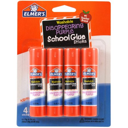 Elmer's Disappearing Purple Washable School Glue Sticks, 0.24 oz, 4 Count