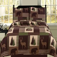King Quilt 3 Piece Set Rustic Cabin Lodge Deer and Bear Coverlet Bedspread