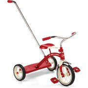 """Radio Flyer, Classic Red Tricycle with Push Handle, 10"""" Front Wheel, Red"""
