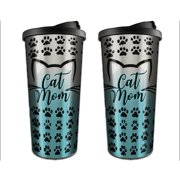 e2090806ae0 (Set) Cat Mom Travel Mugs - Stainless Steel Outer Shell And BPA-Free