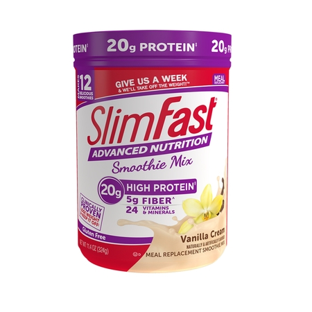 SlimFast Advanced Nutrition High Protein Smoothie Mix Powder, Vanilla Cream, 11.4oz (12 (Protein Shake Nutrition)