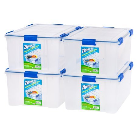 Ziploc 60 Qt./15 Gal. WeatherShield Storage Box, (Available in Single or 4 (Fitted Box)