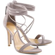 4d4a6738758a Schutz Women s Amandita Mouse Taupe Multiple Strappy High Heel Sandal Pumps  ...